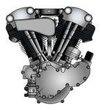 Klassische V-Doppelmotorradmaschine Stockfotos