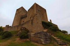 Klassische Weitwinkelansicht mittelalterlichen Landstejn-Schlosses Es ist das älteste und beste konservierte romanische Schloss i lizenzfreies stockbild
