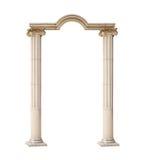 Klassischer Architekturbogen lokalisiert auf weißem Hintergrund Stockbilder