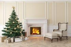 Klassischer beige Innenraum mit Weihnachtsbaum, Kamin, Aufenthaltsraumlehnsessel lizenzfreie abbildung