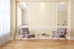 Klassischer beige moderner leerer Innenraum mit Aufenthaltsraumlehnsesseln lizenzfreie abbildung