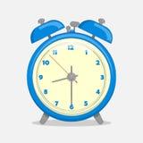 Klassischer blauer Wecker lokalisiert auf weißem Hintergrund in der Karikaturart Auch im corel abgehobenen Betrag Feiertags-Samml Lizenzfreies Stockfoto