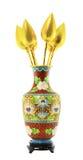 Klassischer chinesischer Farbenvase und goldener Lotos Lizenzfreies Stockbild