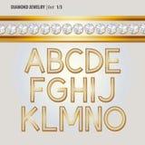 Klassischer Diamond Jewelry Alphabet Vector Stockfotos