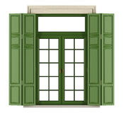Klassischer Fensterbalkon mit Fensterladen Stockbild