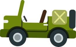 Klassischer grüner Jeepvektor auf dem weißen Blackground vektor abbildung