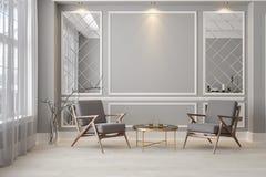 Klassischer grauer moderner leerer Innenraum mit Aufenthaltsraumlehnsesseln Lizenzfreie Abbildung