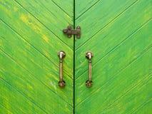 klassischer Griff mit grüner hölzerner Tür Stockbild