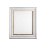 Klassischer hölzerner Bilderrahmen mit dem leeren Segeltuch lokalisiert auf Weiß stockfotografie