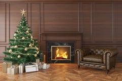 Klassischer Innenraum mit Weihnachtsbaum, Kamin, Aufenthaltsraumlehnsessel stock abbildung