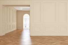Klassischer leerer beige Rauminnenraum mit Parkettboden lizenzfreie abbildung