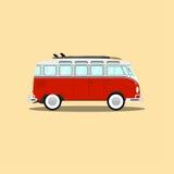 Klassischer Retro- Bus des Vektors mit Surfbrett Stockfoto