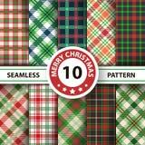 Klassischer Schottenstoff, Picknicktischdecke, Gingham, Büffel, Lamberjack, nahtlose Muster des Plaids der frohen Weihnachten Kon vektor abbildung
