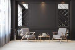 Klassischer schwarzer moderner leerer Innenraum mit Aufenthaltsraumlehnsesseln Vektor Abbildung