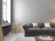 Klassischer skandinavischer grauer Innenraum mit Sofa, Tabelle, Fenster, Teppich vektor abbildung