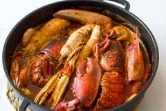 Klassischer spanischer Teller mit Krabben Lizenzfreies Stockbild