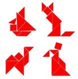 Klassischer Tangram - verschiedener Baut. Stockfoto
