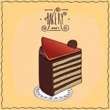 Klassischer Ungar Dobos-Torte auf Spitzen- Serviette Lizenzfreies Stockfoto