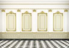 Klassischer Wandhintergrund mit Goldenem stock abbildung