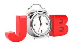 Klassischer Wecker als roter Job Sign Wiedergabe 3d stock abbildung