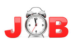 Klassischer Wecker als roter Job Sign Wiedergabe 3d Lizenzfreies Stockfoto