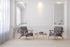 Klassischer weißer moderner leerer Innenraum mit Aufenthaltsraumlehnsesseln Vektor Abbildung