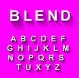 Klassisches Alphabet mit modernem langem Schatteneffekt Stockfoto