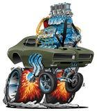Klassisches amerikanisches Muskel-Auto heißer Rod Cartoon Vector Illustration vektor abbildung