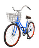 klassisches blaues Fahrrad der Illustration 3d mit Korb Lizenzfreie Stockbilder