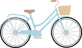 Klassisches blaues Fahrrad mit Brown Seat und Korb Stockfotos
