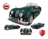 Klassisches britisches Sport-Motor- Jaguars XK140 lokalisiert Stockfotografie