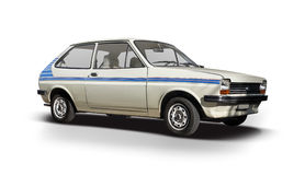 Klassisches Ford Fiesta-Auto lokalisiert auf Weiß Lizenzfreies Stockbild