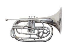 Klassisches französisches Horn des Musikinstrumentes des Winds lokalisiert auf weißem Hintergrund Lizenzfreie Stockbilder