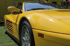 Klassisches gelbes testarossa Detail Stockbild