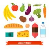 Klassisches Gemüse, Früchte und Lebensmittelgeschäfte Stockbilder