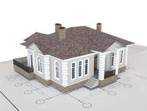 Klassisches Haus auf der Zeichnung lokalisiert Gebäude, Architekturäußeres Stock Abbildung