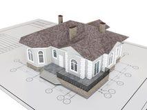 Klassisches Haus auf der Zeichnung lokalisiert Gebäude, Architekturäußeres lizenzfreie abbildung