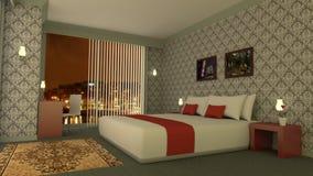 Klassisches Hotelzimmer mit Skylinen durch Wiedergabe der Nacht 3D Lizenzfreie Stockbilder