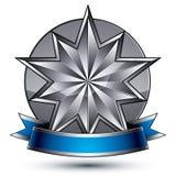 klassisches königliches Symbol des Vektors 3d, hoch entwickeltes silbernes Emblem Lizenzfreies Stockfoto