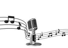 Klassisches Mikrofon mit Musikanmerkungen über Hintergrund Lizenzfreies Stockbild