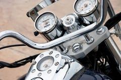 Klassisches Motorradchrom zerteilt Nahaufnahme stockbilder