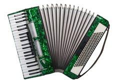 Klassisches Musikinstrument ein Akkordeongrün Lizenzfreie Stockfotografie