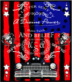 Klassisches Retro- Grafikdesign T-Shirt Mann der alten amerikanischen Auto-Weinlese Stock Abbildung