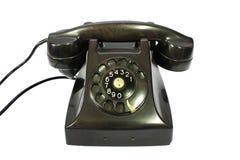 Klassisches Retro- Vorwahlknopfartschwarz-Haustelefon Stockbild
