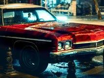 Klassisches rotes Auto und Scheinwerfer für Tabelle oder Tapeten oder Abdeckung lizenzfreie stockbilder