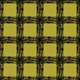 Klassisches schwarzes und gelbes Schottenstoffgewebe Hand gezeichnetes nahtloses quadratisches Muster Lizenzfreie Stockbilder