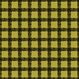 Klassisches schwarzes und gelbes Schottenstoffgewebe Hand gezeichnetes nahtloses quadratisches Muster Stockbild