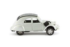Klassisches silbernes Spielzeugauto Stockfoto