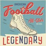 Klassisches USA-Fußballt-shirt Design Grafikdesign T-Stück des amerikanischen Fußballs All-Star- Schüsselzeichen USA-Fußballweinl Stockfoto