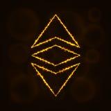 Klassisches Währungsschattenbild Ethereum von Lichtern Lizenzfreies Stockbild